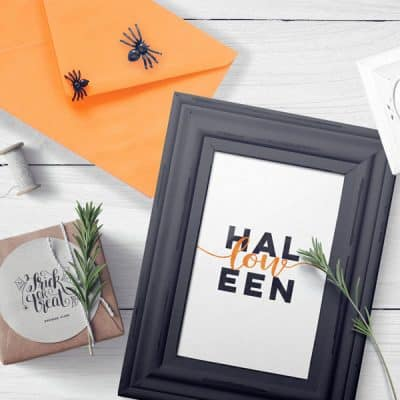 Halloween Word Art Mockup