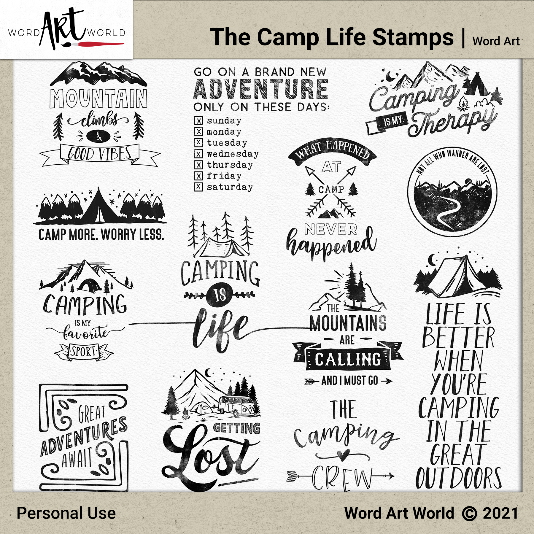 The Camp Life Word Art